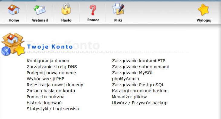 Zrzut ekranu Direct Admin